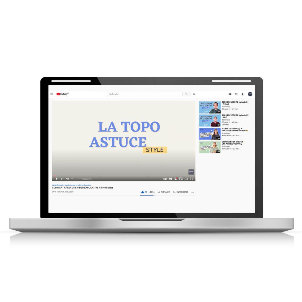 vidéo au format 16:9 sur YouTube regardée sur ordinateur