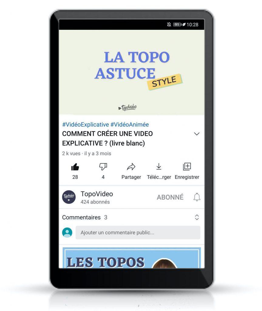 vidéo au format 16:9 sur YouTube regardée sur smartphone ou tablette